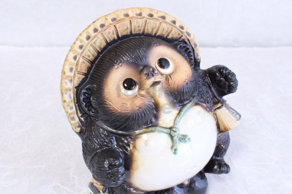 Photo1: Shigaraki pottery Japanese Tanuki Cute Raccoon Dog dancing H20cm