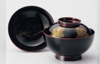 Japanese Echizen Urushi lacquer soup bowl wan black chinkin matsu w/ lid D13.8cm