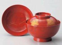 Japanese Echizen Urushi lacquer soup bowl wan red chinkin matsu w/ lid D13.8cm