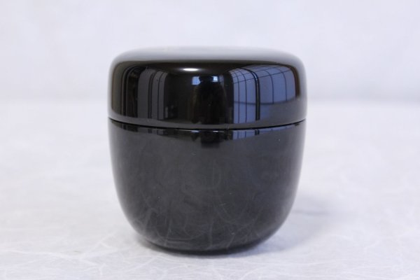 Photo1: Tea Caddy Japanese Shin Natsume Echizen Urushi lacquer Matcha container black plain
