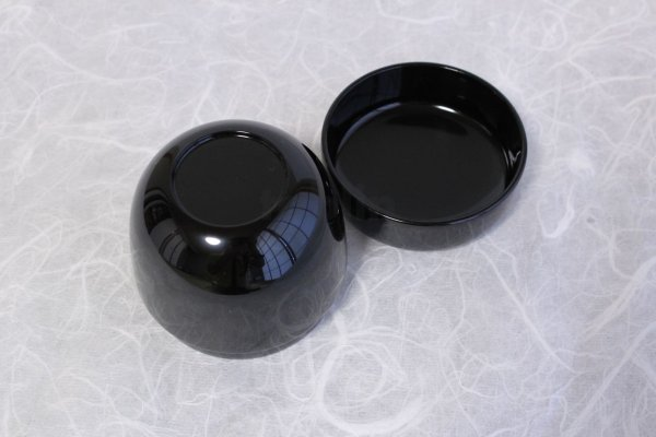 Photo2: Tea Caddy Japanese Shin Natsume Echizen Urushi lacquer Matcha container black plain