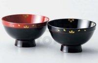 Japanese Echizen Urushi lacquer soup bowl wan ume sakura D11.8cm set of 2