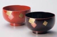 Japanese Echizen Urushi lacquer soup bowl wan irogami D11.5cm set of 2