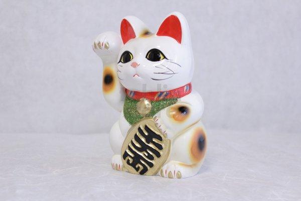 Photo1: Japanese Lucky Cat Tokoname ware YT Porcelain Maneki Neko koban right hand H19cm