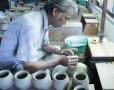 Photo5: Kiyomizu porcelain Japanese incense burner Minoru Ando karakusa oribe koro H9cm (5)