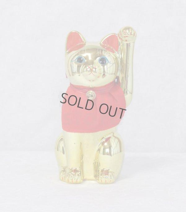 Photo1: Japanese Lucky Cat Tokoname ware YT Porcelain Maneki Neko slim gold H25cm