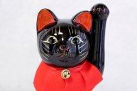 Japanese Lucky Cat Tokoname ware YT Porcelain Maneki Neko slim black H25cm