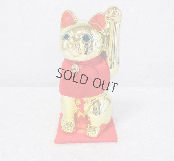 Photo2: Japanese Lucky Cat Tokoname ware YT Porcelain Maneki Neko slim gold H25cm