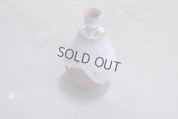 Photo1: Bizen ware pottery Sake bottle tokkuri white glaze Tomoyuki Oiwa 350ml