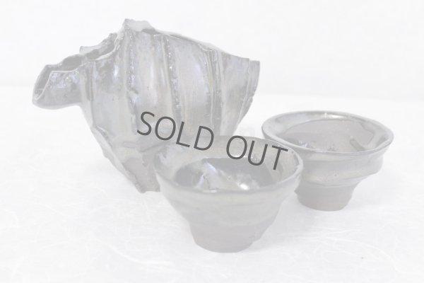 Photo1: Bizen ware pottery Sake bottle cups set reishu gradation glaze Tomoyuki Oiwa w/ wooden box