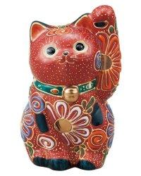 Japanese Lucky Cat Kutani Porcelain Maneki Neko sansan mori H 10cm