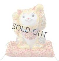 Japanese Lucky Cat Kutani Porcelain Maneki Neko yellow ryote H26.5cm
