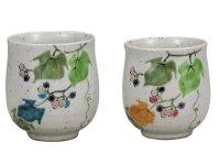 Kutani Porcelain Japanese tea cups yon nobudo (set of 2)