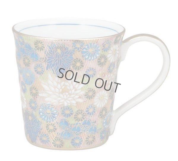 Photo1: Kutani Porcelain Japanese mug coffee tea cup kinhanazume D 8.2cm