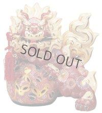 Japanese Leo Shishi Dragon Lion dog Kutani Porcelain katana mori red H36cm