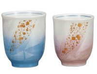 Kutani Porcelain Japanese tea cups yon ginsai kinchirashi (set of 2)