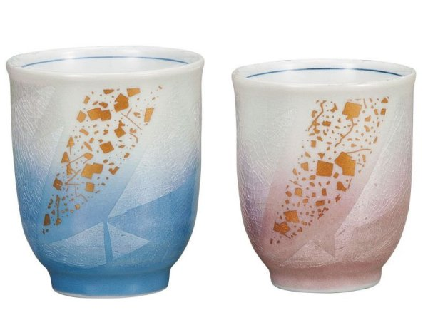 Photo1: Kutani Porcelain Japanese tea cups yon ginsai kinchirashi (set of 2)