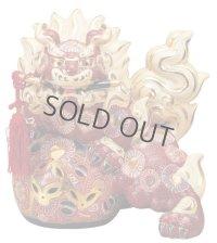 Japanese Leo Shishi Dragon Lion dog Kutani Porcelain katana red H31cm