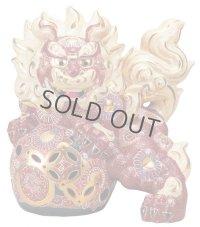 Japanese Leo Shishi Dragon Lion dog Kutani Porcelain mori red H31cm