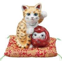 Japanese Lucky Cat Kutani Porcelain Maneki Neko gosan kinsaiyu H 16cm