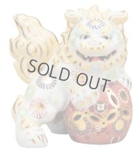 Japanese Leo Shishi Dragon Lion dog Kutani Porcelain shiramori white Left H19cm