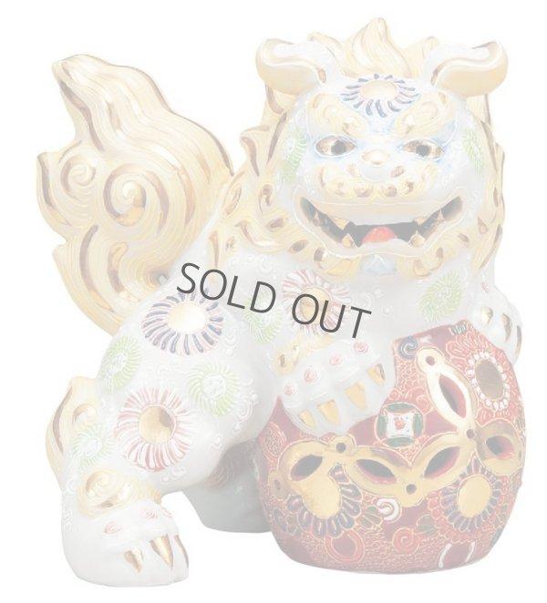 Photo1: Japanese Leo Shishi Dragon Lion dog Kutani Porcelain shiramori white Left H19cm