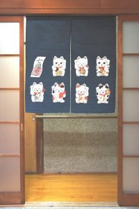 Noren CSMO Japanese door curtain Shitifuku neko dark blue 85 x 90cm