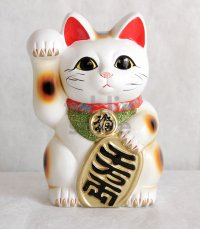 Japanese Lucky Cat Tokoname ware YT Porcelain Maneki Neko koban right hand H23cm