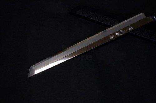 Other Images2: SAKAI TAKAYUKI Limited Edition Ginsan Yasuki silver-3 steel Mirror Finish Ebony wood Kengata Sakimaru takohiki Sashimi knife 300mm