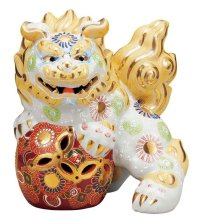 Japanese Leo Shishi Dragon Lion dog Kutani Porcelain shiramori white Right H19cm