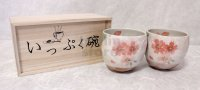 Mino Japanese pottery yunomi tea cups set of 2 cherry blossoms w/wooden box