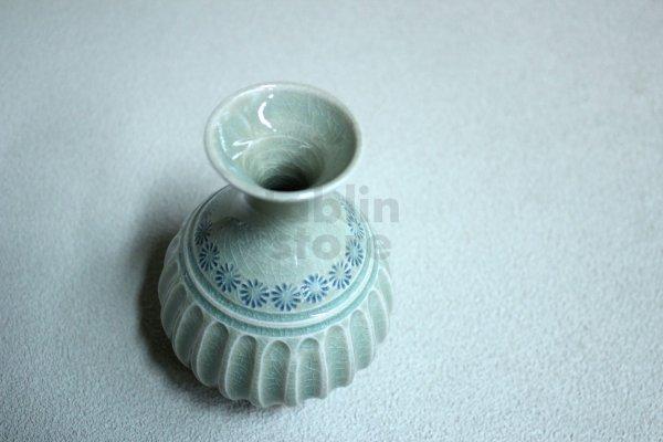 Photo2: Kiyomizu porcelain Japanese tokkuri sake bottle vase Minoru Ando shinogi haiyu