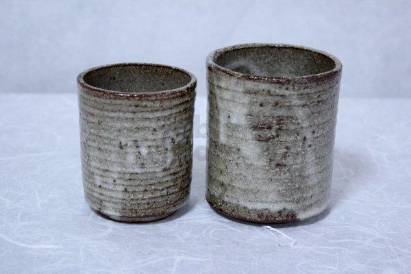 Photo2: Shigaraki pottery Japanese tea cups nezumi hai yunomi set of 2