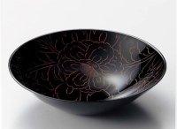 Japanese Echizen Urushi lacquer Serving bowl peony pattern shu moriki D19cm