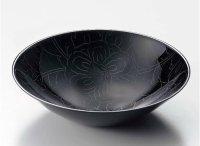 Japanese Echizen Urushi lacquer Serving bowl peony pattern kuro moriki D19cm