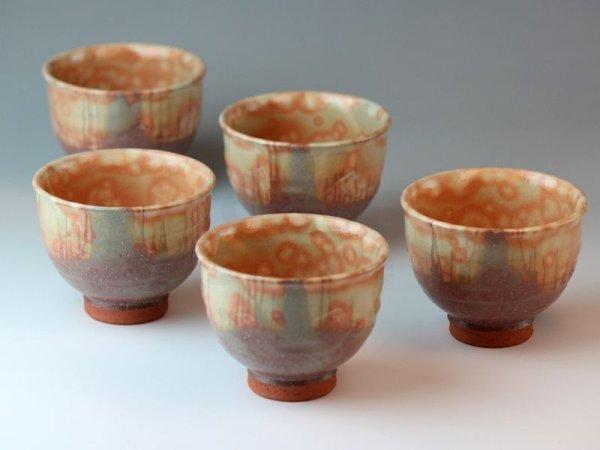 Photo1: Hagi ware Japanese pottery yunomi tea cups hani kumidashi 200ml set of 5