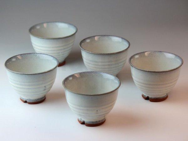 Photo1: Hagi ware Japanese pottery yunomi tea cups haku white glaze 180ml set of 5