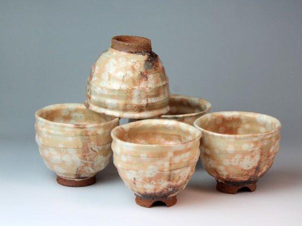 Photo2: Hagi ware Japanese pottery yunomi tea cups gohonte Keichiro Sho 320ml set of 5