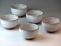 Hagi ware Japanese pottery yunomi tea cups asagiri white glaze 230ml set of 5