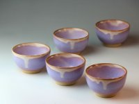 Hagi ware Japanese pottery yunomi tea cups kumidashi purple 130ml set of 5