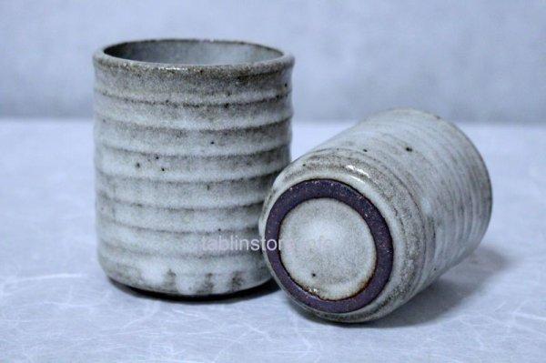 Photo1: Shigaraki pottery Japanese tea cups nezumi hai yunomi set of 2