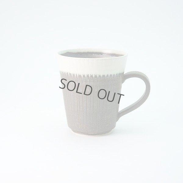 Photo1: Kiyomizu Japanese pottery tea mug coffee cup Daisuke white-line black 250ml