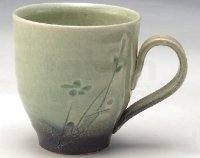 Shigaraki ware Japanese pottery tea mug coffee cup rain blue 330mlShigaraki ware Japanese pottery tea mug coffee cup seiji hana komon 300ml