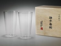 Usuhari Shotoku Sake tumbler Bar Mug glass M w/wooden box 240ml set of 2