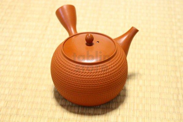 Photo1: Tokoname Japanese tea pot kyusu Gyokko pottery tea strainer shudei red L 500ml