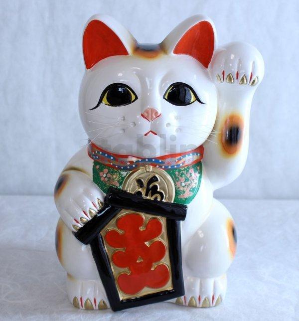 Photo1: Japanese Lucky Cat Tokoname YT Porcelain Maneki Neko ooiri left hand H33cm