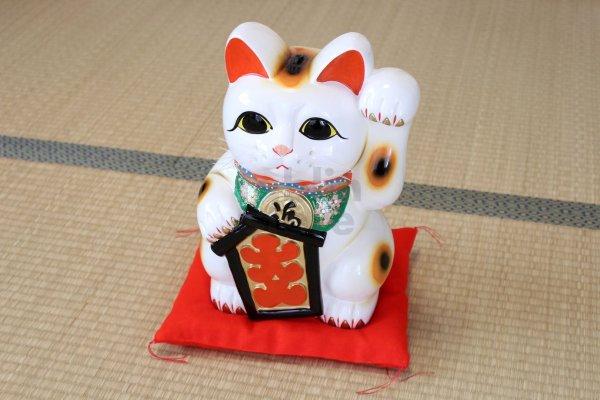 Photo2: Japanese Lucky Cat Tokoname YT Porcelain Maneki Neko ooiri left hand H33cm