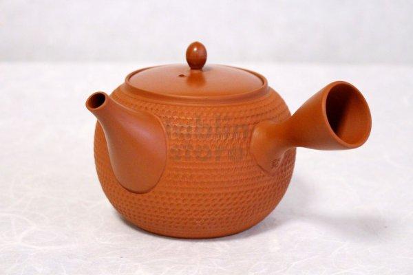 Photo2: Tokoname Japanese tea pot kyusu Gyokko pottery tea strainer shudei red L 500ml