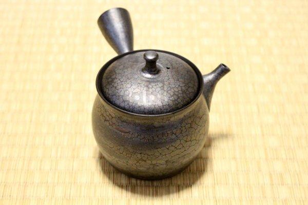 Photo1: Tokoname ware Japanese tea pot kyusu ceramic strainer YT Shoryu tenmoku 270ml