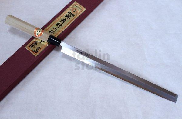 Photo1: SAKAI TAKAYUKI Japanese knife Kasumitogi Yasuki white steel Tako hiki Sashimi